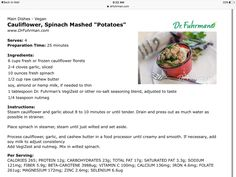 Cauliflower spinach mashed potatoes