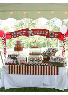 "The ""Admit tickets on the cake is pure genius. It ties in with the theme of the party and adds such a great pop of color to the cake. Photo by Susan Kalergis Photography. Circus Carnival Party, Circus Theme Party, Carnival Wedding, Carnival Birthday Parties, Carnival Themes, Circus Birthday, Vintage Carnival, Party Themes, Party Ideas"