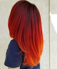 Lovely Hairstyles 43 Most Gorgeous And Eye-catching Sunset Hair Colour Long Hair And Short Hair For Prom And Wedding - Hairstyle 20 , ! Everythings about sexy sunset hairstyle you may love! Hair Dye Colors, Red Hair Color, Cool Hair Color, Red Color, Cheveux Oranges, Red Orange Hair, Bright Red Hair, Sunset Hair, Fire Hair