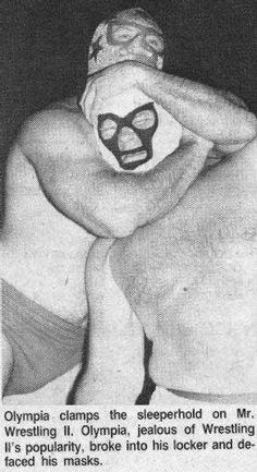 Mr Olympia (Jerry Stubbs) catches Mr. Wrestling 2 in a sleeper hold during their Mid South area feud