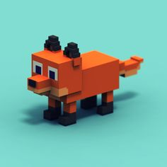 Voxel fox for Jet Toast / #BlockyFarm - Wioletta Orłowska