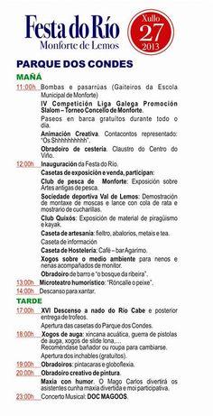 Progama de la Fiesta del Río 2013 en #MonforteDeLemos #Lugo #Spain by @Hermanager via Twitter