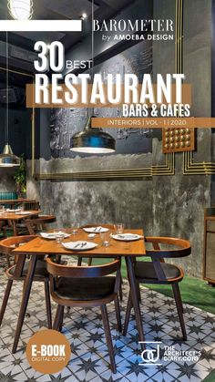 30 Best Restaurant Interior design in India is a collection of amazing Restaurant + Cafes + Bars design around the country, with this E-Book we believe to provide design inspiration to the readers. Also, the e.book is a well-curated design from the most innovative and established design firms. Restaurant Interior Design, Cafe Interior, Modern Interior Design, Outdoor Tables, Outdoor Decor, Cafe Bar, Design Firms, Restaurant Bar, Dining Chairs