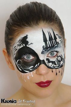 Princess face paint The Australian Body Art Awards and Conventions Disney Face Painting, Adult Face Painting, Princess Face Painting, Easy Face Painting Designs, Mime Face Paint, Marquesan Tattoos, Arts Award, Maquillage Halloween, Fantasy Makeup
