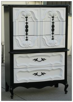 Vintage Refurbished Black & White Hollywood Regency Tallboy Painted chest of drawers Paint Furniture, Furniture Projects, Furniture Makeover, Bedroom Furniture, Furniture Design, White Furniture, Repurposed Furniture, Vintage Furniture, Refurbished Dressers