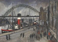 Newcastle Pride by Malcolm Teasdale  Newcastle Quayside depicted as it was in the 1940's  Signed limited edition mounted print