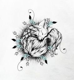 Black-and-white_sleeping_fox_and_small_turquoise_feathers_tattoo_design.jpg (415×452)