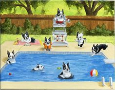 Boston Terrier Pool Party art print by Brian by rubenacker on Etsy