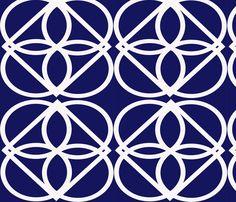 Cobalt Lattice Print fabric by mamagigi on Spoonflower - custom fabric