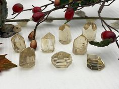 Natural Citrine points - Healing Crystals and Healing Stones by CastleRocksCornwall on Etsy Healing Crystals, Crystals And Gemstones, Healing Stones, Citrine Crystal, Crystal Decor, Crystal Meanings, Shape And Form, Backdrops, Place Card Holders
