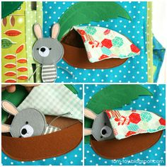 Bunny day quiet busy book for children, pretend play, bedroom, good night.