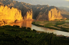 Yellow River  morning 老龍灣村  gansu, china