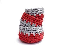 Red & Grey Crochet Nesting Bowls!