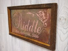 7th anniversary gift - Copper -Customized Wedding Sign Copper Engraving. $55.00, via Etsy.