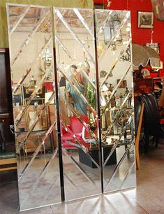 For Sale on - set of three bevelled mirrors panels. Mirror Panel Wall, Floor Mirror, Mirror Tiles, Hall Mirrors, Living Room Mirrors, Glass Partition Designs, Glass Design, Beveled Mirror, Beveled Glass