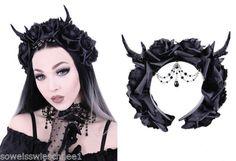Restyle-Gothic-Haarreifen-Rose-Reh-Geweih-Haarschmuck-Hoerner-Victorian-Headpiece