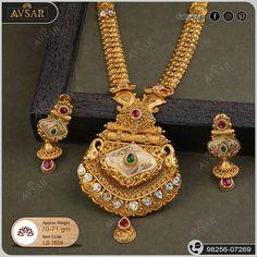 Indian Bridal Jewelry Sets, Wedding Jewelry, Gold Earrings Designs, Necklace Designs, Mango Mala Jewellery, Manubhai Jewellers, Pendant Jewelry, Gold Jewelry, Gold Necklace