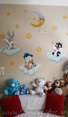 Baby wall painting with donald duck Kids Room Murals, Kids Room Paint, Bedroom Murals, Boys Bedroom Decor, Baby Bedroom, Baby Boy Rooms, Nursery Decor, Baby Wall Art, Baby Art