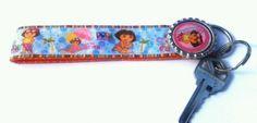 Dora the explorer key fob - Dora key chain - Dora wristlet - Dora lanyard