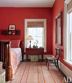 Architect Jim Joseph and musical theater composer Scott Frankel's home - Forth House New York Kitchen Guest Bedroom - Photography by Pieter Estersohn - Architectural Digest Bedroom Red, Bedroom Paint Colors, Bedroom Color Schemes, Home Decor Bedroom, Master Bedroom, Red Bedroom Design, Red Paint Colors, Bedroom Hacks, Bedroom Suites