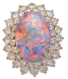 Superb Natural Opal Ring with Diamond Double-Halo