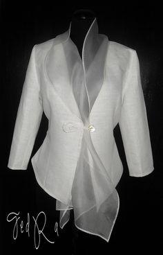 Linen jacket  linen blazer with organza collar by by FedRaDD, $120.00