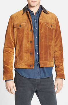 Slim Fit Suede Trucker Jacket