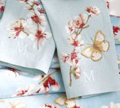 Cherry Blossom Embroidered Guest Towels :)