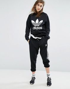 quality design 2a56b e8d58 adidas Originals Black Trefoil Boyfriend Sweatshirt