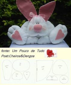 Easter rabbit to sew. Rabbit Crafts, Bunny Crafts, Felt Crafts, Easter Crafts, Sewing Toys, Sewing Crafts, Sewing Projects, Fabric Toys, Felt Patterns