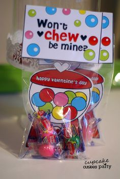 "Valentine activities: ""Won't 'chew"" be mine?"" Cupcake Cutiees: Gumball Love Combo Valentine DIY card."