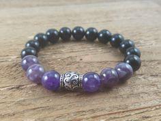 Unisex European Bead, Amethyst and Black Agate elastic bracelet
