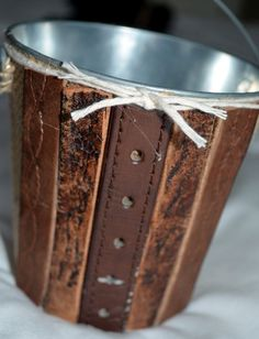 repurposed belt bucket, bathroom ideas, crafts, repurposing upcycling, storage ideas