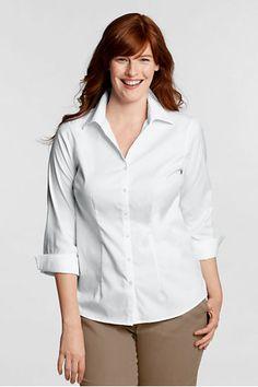 Women's Original 3/4-sleeve No Iron Pinpoint Split-neck Shirt from Lands' End