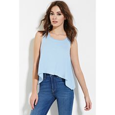 Forever 21 Women's  Trapeze Tank Top ($9.90) ❤ liked on Polyvore featuring tops, blue top, trapeze tank, forever 21 tank tops, forever 21 tops and forever 21 tank