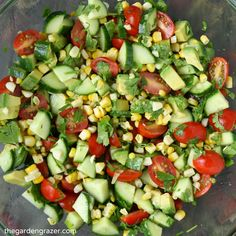 Summer in a bowl! Fresh sweet corn, cherry tomatoes, cucumber, and herbs bring a blast of summery taste to this simple avocado salad (vegan, gluten-free)