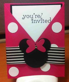 Light Pink Minnie Mouse INVITATION thank you card address lable
