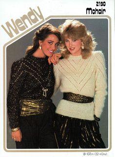 Items similar to PDF Womens Ladies Knitting Pattern Elegant MOHAIR Lacy Yoke Sweaters Larger Sizes Wendy 2190 Puff Sleeve Ethnic Glam Evening Disco on Etsy Vintage Knitting, Vintage Wool, Vintage Sweaters, 80s Fashion, Fashion History, Girl Fashion, Cardigan Pattern, Sweater Knitting Patterns, Retro Outfits