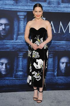 10 April Emilia Clarke was stunning in a strapless floral Erdem gown for the premiere of Game of Thrones season 6 in Hollywood. - HarpersBAZAAR.co.uk