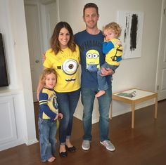 Minion shirts for the whole family!  We added to the party décor for G's minion 5th birthday party. Click or visit fabeveryday.com for more photos and details from this Despicable Me Minions themed birthday party.