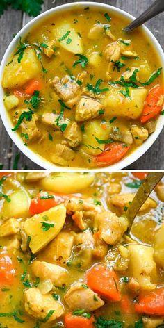 Slow Cooker Recipes, Crockpot Recipes, Soup Recipes, Great Recipes, Cooking Recipes, Recipies, Stew Chicken Recipe, Yummy Chicken Recipes, Chicken Stew Slow Cooker