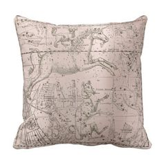 Star Map Unicorn Dog Canis Pink Rose Drawing Throw Pillow