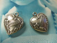 Silver Ox Plated Adorable Puffy I Love U Heart Charms 423SOX x3. $2.25, via Etsy.