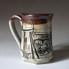 16oz Handmade Ceramic Porcelain Bicycle Mug
