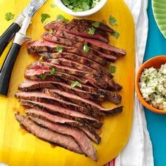 Flank Steak with Cilantro & Blue Cheese Butter Recipe