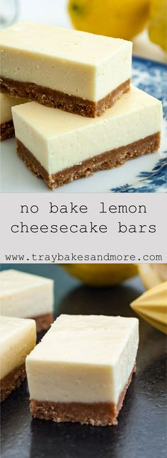 Smooth and tangy no-bake lemon cheesecake bars. A real retro recipe with cream cheese, lemon jelly and evaporated milk. Smooth and tangy no-bake lemon cheesecake bars. A real retro recipe with cream cheese, lemon jelly and evaporated milk. Lemon Cheesecake Recipes, Lemon Desserts, Köstliche Desserts, Delicious Desserts, Jelly Cheesecake, Spanish Desserts, No Bake Lemon Bars Recipe, Real Cheesecake Recipe, Lemon Recipes Vegan