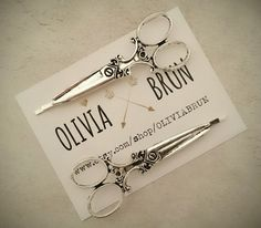 Silver Scissors Bobby Pins Silver Scissors Hair Pins by OLIVIABRUN