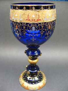 Moser Bohemian Glass Gold Gilt Enameled Large Goblet Signed