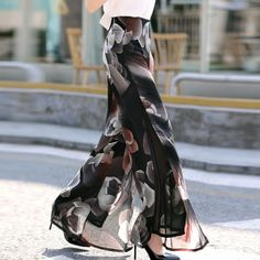 0a028057e3 2018 Summer New Side Split Floral Print Trousers Thin Chiffon Vacation Wide  Leg High Waist Seaside