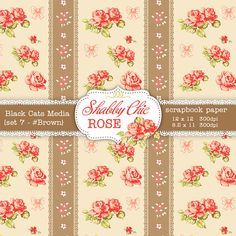 Brown Shabby Chic Digital paper 12 x 12 in AND by BlackCatsMedia